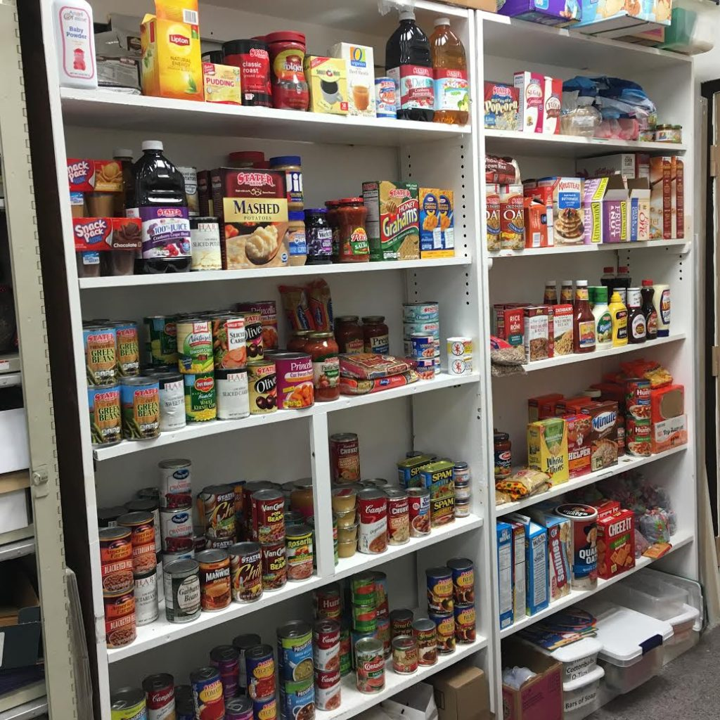 The DOVES food pantry is fully stocked.